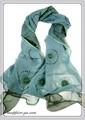 2枚重ねオーガンジーフラワービーズ刺繍入りシルク混スカーフ 1985