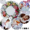 セラミック製鍋敷き<ローズ 薔薇 アンティーク 天使 花>