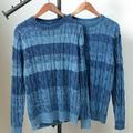 【SALE セール】 メンズ ケーブル編み グラデボーダー インディゴニット / フィッシャーマン セーター