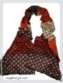 【セール】【メンズ】男女兼用幾何&チェック柄100%起毛シルクロングマフラー 11509c【母の日】