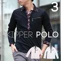 スキッパーポロシャツ 長袖ポロシャツ ブライトランダム ロールアップで7分袖  二枚衿 胸ポケット