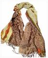 大判薄型アニマル豹柄&鎖柄100%ウールストール/スカーフ/マフラー 3287