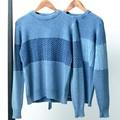 【SALE セール】 メンズ 鹿の子編み 切替 インディゴニット / セーター ボーダー 長袖 ネイビー ブルー