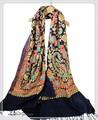 オリジナルゴージャス全面刺繍インドカシミールウール・ アーリ刺繍大判ストール IN246