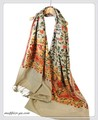 オリジナルゴージャス全面刺繍インドカシミールウール・ アーリ刺繍大判ストール IN248