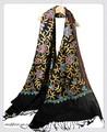 オリジナルゴージャス全面刺繍インドカシミールウール・ アーリ刺繍大判ストール IN249
