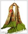 オリジナルゴージャス全面刺繍インドカシミールウール・ アーリ刺繍大判ストール IN250