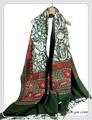 オリジナルゴージャス全面刺繍インドカシミールウール・ アーリ刺繍大判ストール IN236