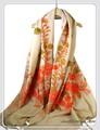 オリジナルゴージャス刺繍インドカシミールウール・ アーリ刺繍大判ストール IN235