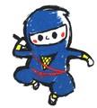 【特価】ゆるカワ☆『青忍者』子供Tシャツ140cm!白【海外へのお土産・普段着】