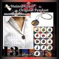 【おすすめ♪】 ステンドグラス風 ネックレス ペンダント カラフル レディース ナチュラル系 ハート ムーン