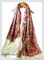 オリジナルゴージャス全面刺繍インドカシミールウール・ アーリ刺繍大判ストール IN230