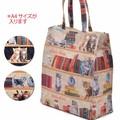 ねこ柄A4サイズ対応トートバッグ【ブックシェルフキャット】猫柄 低価格帯