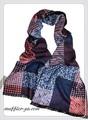 【セール】男女兼用幾何&チェック柄100%起毛シルクロングマフラー 11535【母の日】