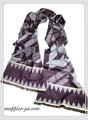 【セール】男女兼用幾何柄100%起毛シルクロングマフラー 11540【母の日】