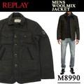 ◆お買い得秋冬商材◆★大特価★REPLAY リプレイ メンズ ウール混 中綿ジャケット<KHK>