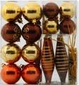 【クリスマス】オーナメントセット 35pcs ブラウン・ゴールド