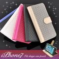 <スマホケース>【399シリーズ!】ほどよい高級感♪ iPhone7用タイルデザインケースポーチ