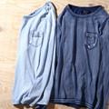 【2017SS新作】 メンズ スタッズ付き インディゴ染め ロングTシャツ / 長袖 ロンT カットソー ネイティブ