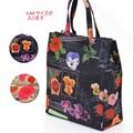 花柄トートバッグ<ローズスタンプ>A4サイズ対応