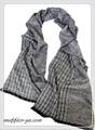 【セール】男女兼用幾何柄100%起毛シルクロングマフラー 11569【母の日】