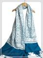 オリジナルゴージャス全面刺繍インドカシミールウール・ アーリ刺繍大判ストール IN282