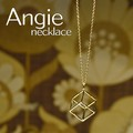 NEW【Angie】キューブ立方体モチーフロング ゴールド ネックレス!シンプル&フェミニン!