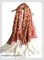 オリジナルゴージャス全面刺繍インドカシミールウール・ アーリ刺繍大判ストール IN284