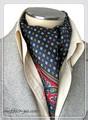 エレガント袋縫いプリント柄メンズ用100%シルクスカーフ 10114