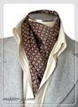 エレガント袋縫いプリント柄メンズ用100%シルクスカーフ 10116