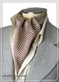 エレガント袋縫いプリント柄メンズ用100%シルクスカーフ 10117