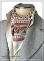 エレガント袋縫いプリント柄メンズ用100%シルクスカーフ 10119