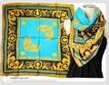 大判正方形クラシック柄100%シルク綾織スカーフ  06049