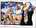 大判正方形ファンタジーフラワー柄100%シルク綾織スカーフ  06055【母の日】