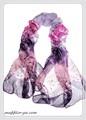フラワー柄(バラ)100%シフォンシルクロングスカーフ  1360a