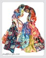 鮮やかなパッチワーク風花柄エスニックストール/スカーフ  92306【母の日】