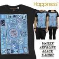 ◆お買い得春夏商材◆★大特価★Happiness ハピネス ユニセックス Tシャツ<ART&LIFE><BLK>