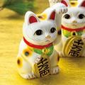 左手を上げる猫はお客を招く!■常滑焼【縁起置物/貯金箱】美園白手長小判猫左手