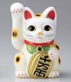 右手を上げる猫はお金を招く!■常滑焼【縁起置物/貯金箱】美園白手長小判猫右手