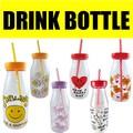 NEW!!!! ドリンクボトル * プラスチック製の牛乳瓶型タンブラーストロー付き!水筒、マイボトルに♪