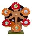 【 (日本製)木製オルゴール付回転式フォトフレーム(キノコ)  】 【ベビーシリーズ】