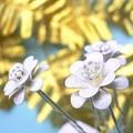 再入荷♪ ☆★ホワイトパール★☆ 【フラワーモチーフ】 2重花モチーフUピン(6本セット)