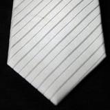 【慶事用】白ネクタイ【ミディアム・ストライプ柄】:【日本製】