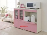 【日本製】アイボリー・ピンクを使いかわいく・おしゃれなコンパクト食器棚Y