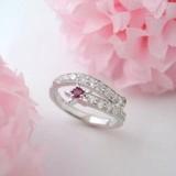 Silver 925 Glitter Birthstone Ruby Happy Ring
