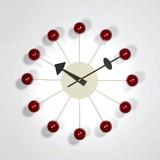 【人気商品】【ジョージ・ネルソン】ボールクロック レッド 掛け時計  デザイン雑貨