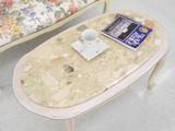 【イタリア製】ねこ脚 センターテーブル 大理石 天板 ホワイトレッグ 楕円形 アンティーク調