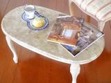 【イタリア製】ねこ脚 大理石天板リビングテーブル 84cm・アンティーク調ホワイトレッグ