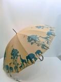 【通年新作】雨傘・長傘-婦人 和風16本骨親子ゾウ・シマウマ・シカ・キリンのサファリ柄手開き雨傘