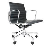 【オフィスに最適】アルミナムチェア ショートバック フラットパッド ブラック オフィスチェア
